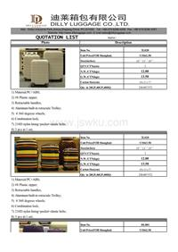 Quotation sheet for trolley case set